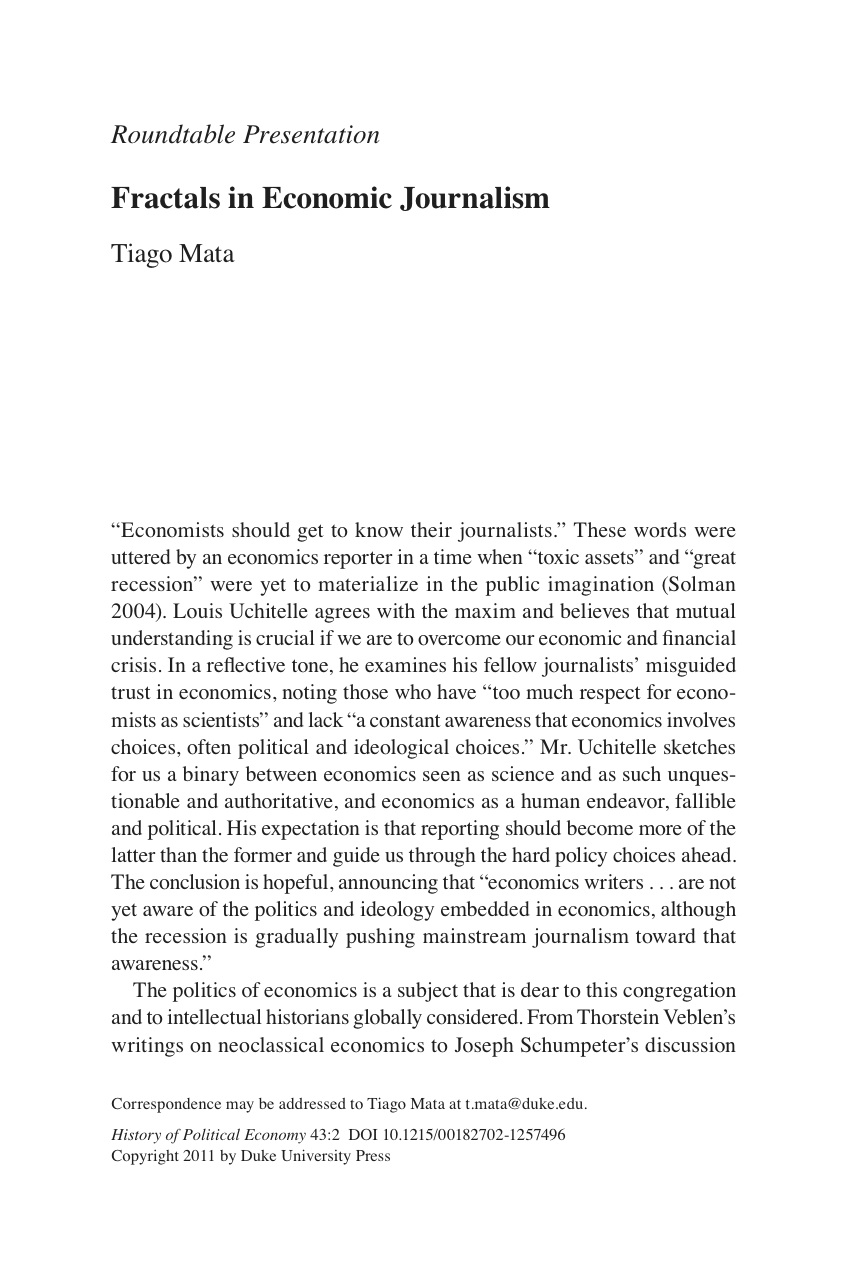 papers tiago mata fractals in economic journalism in history of political economy 2011 43 2 379 385